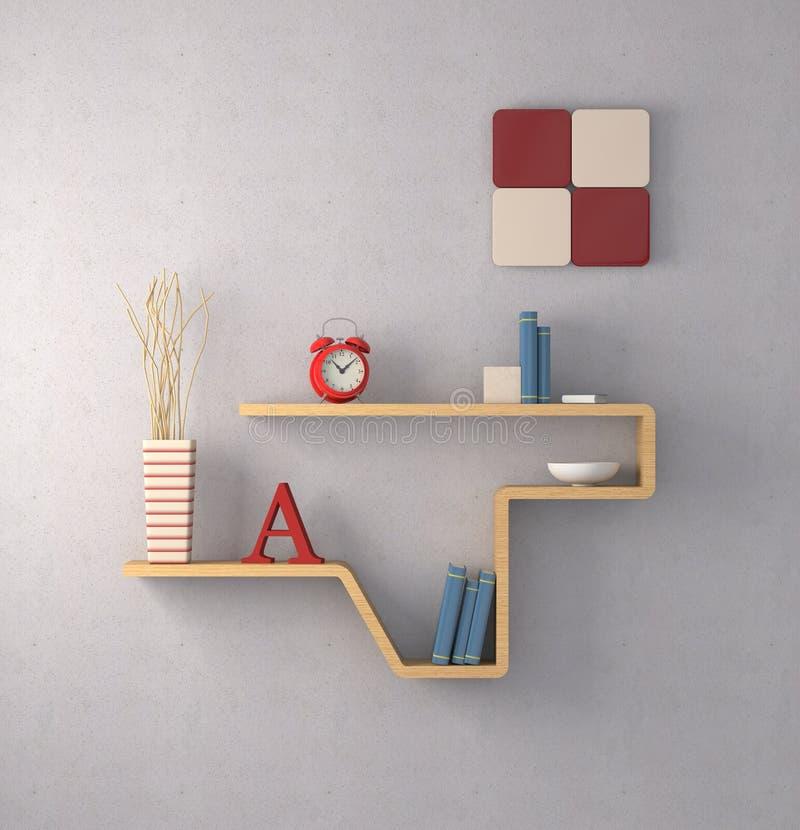 Furniture. One modern bookshelf on a concrete wall (3d render vector illustration