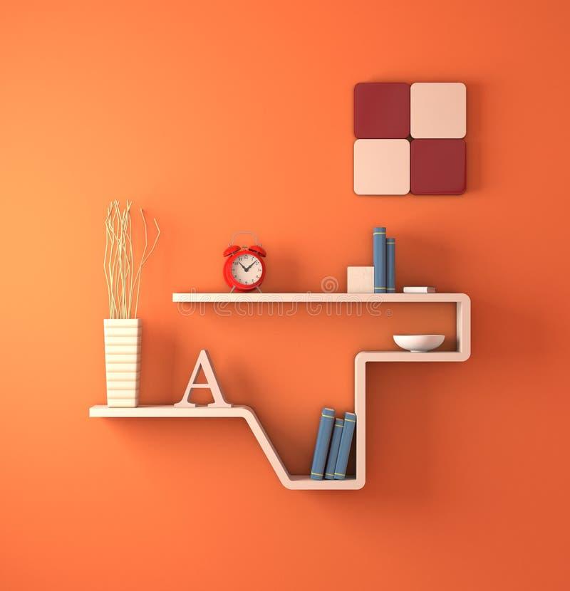 Furniture. One modern bookshelf on an orange wall (3d render royalty free illustration