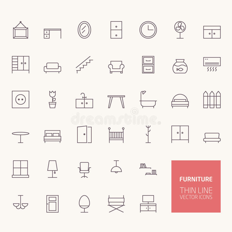 Furniture Outline Icons Stock Vector