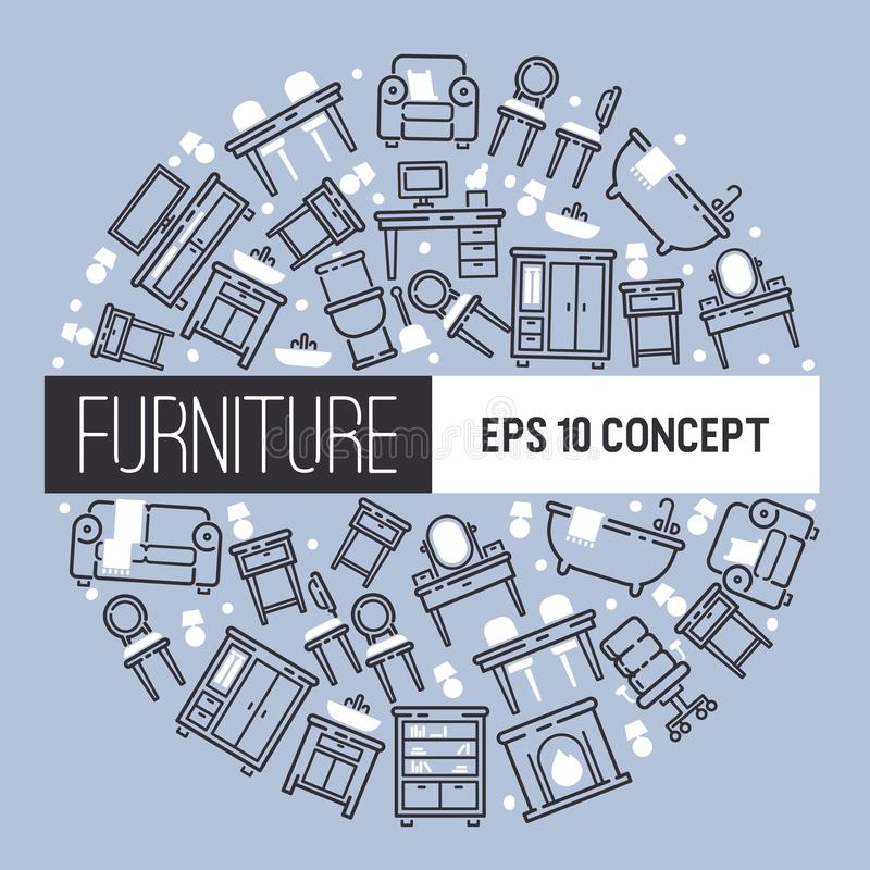 Furniture pattern vector furnishings design of living-room backdrop furnished interior in apartment sofa table arm-chair royalty free illustration