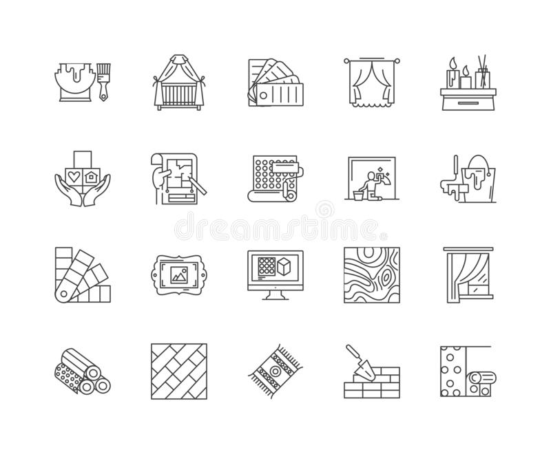 Furniture reupholstering line icons, signs, vector set, outline illustration concept. Furniture reupholstering line icons, linear signs, vector set, outline royalty free illustration