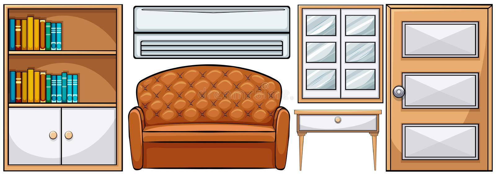 Furniture. Set of different classic furniture royalty free illustration