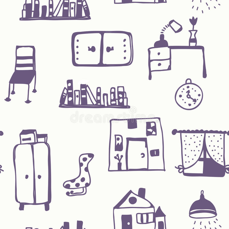 pattern furniture. Download Furniture Set Seamless Pattern Stock Vector - Illustration Of Hand, Isolated: 44793312 \