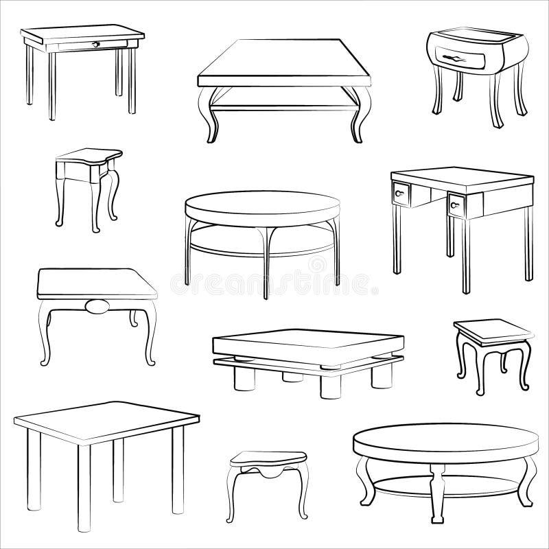 Furniture set. Table and desk interior details. Furniture set. Interior detail outline collectionof different table and desk stock illustration
