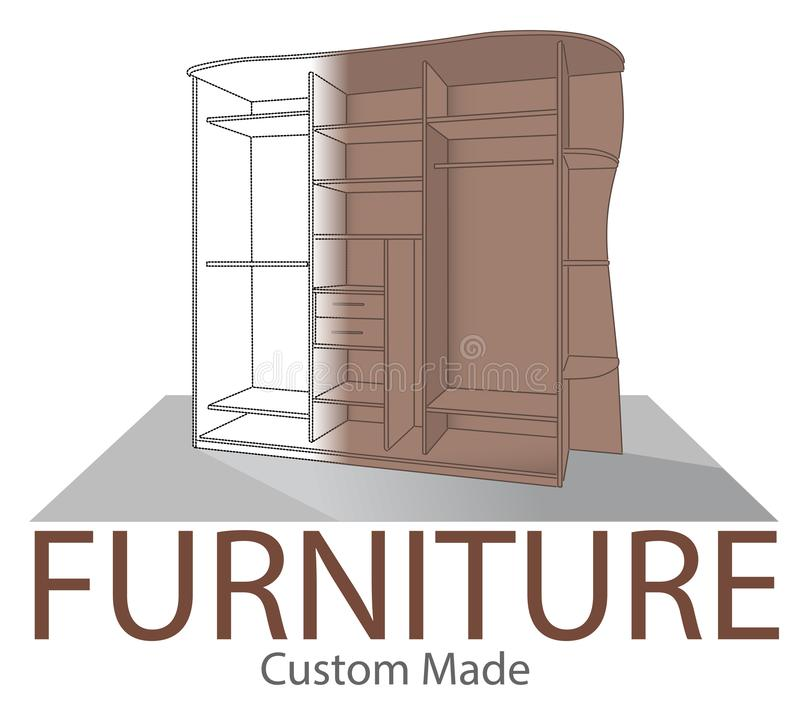 Furniture shop label. Custom made closet. Store badge in modern style. Home interior symbol. Opened bedroom wardrobe. Wood Home Fu royalty free illustration