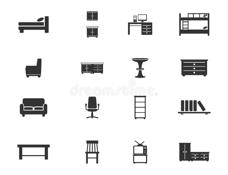 Furniture simply icons vector illustration