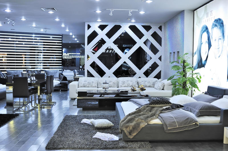 Furniture store. Modern bedroom and living room furniture for sale in a shopping mall.at Wuxi city,jiangsu,china stock photo