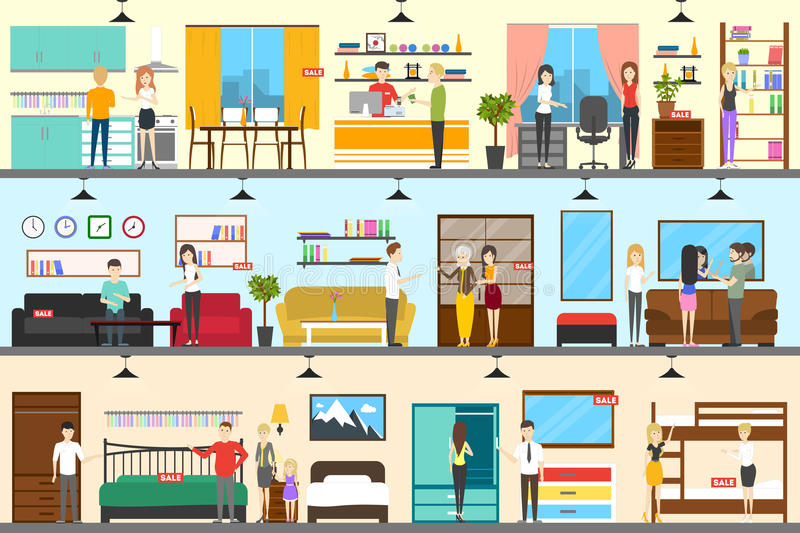 Furniture store interior. royalty free illustration