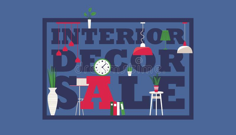 Furniture store interior decor sale, vector illustration. Simple typographic poster design in flat style. Advertisement royalty free illustration