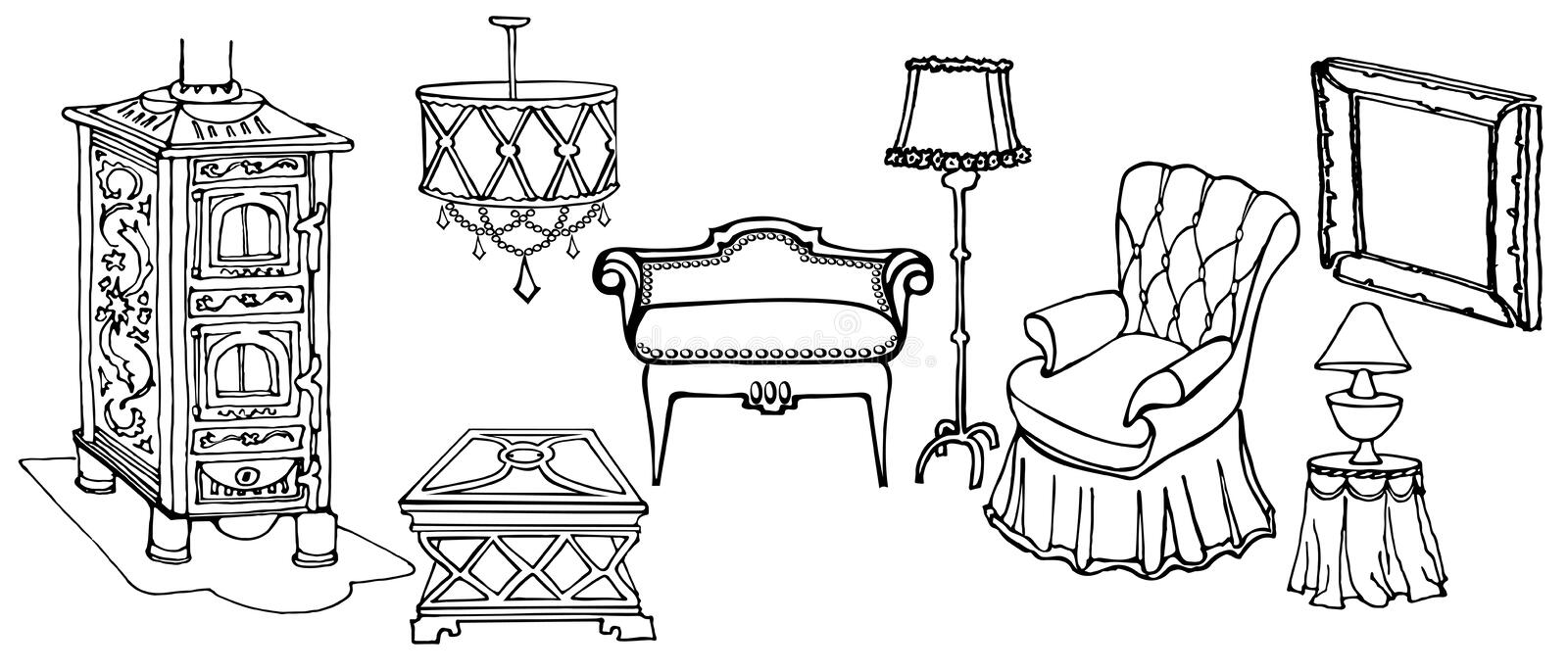 Sketch Set Of Elegant Furniture And Accessories For The Old Art Deco Living  Room With Stove, Armchair And A Lamp Black In White Background