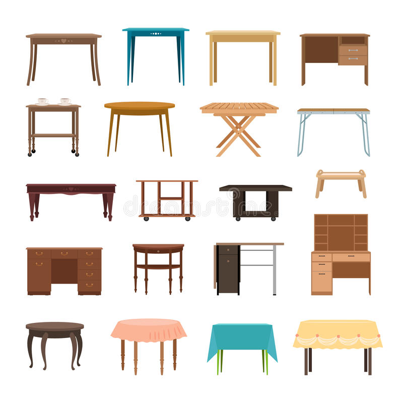 Furniture table isolated on white background. Modern and retro tables, retro and office desk icons vector illustration. Set of table for interior royalty free illustration