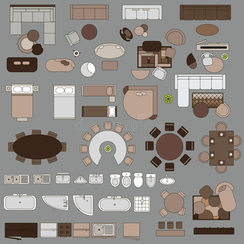 Kitchen Set Top View: Furniture In Top View Stock Vector. Illustration Of