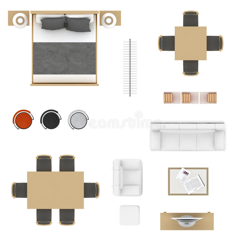 Furniture Top View Stock Illustration Illustration Of