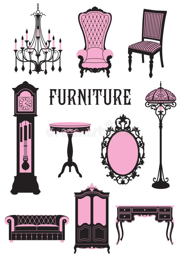 Furniture. A two-tone silhouette of furniture royalty free illustration
