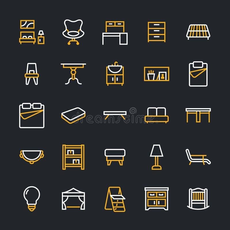 Furniture vector flat line icons. Living room bathroom sink, bedroom, mattress, office chair, sofa, garden tent dining royalty free illustration