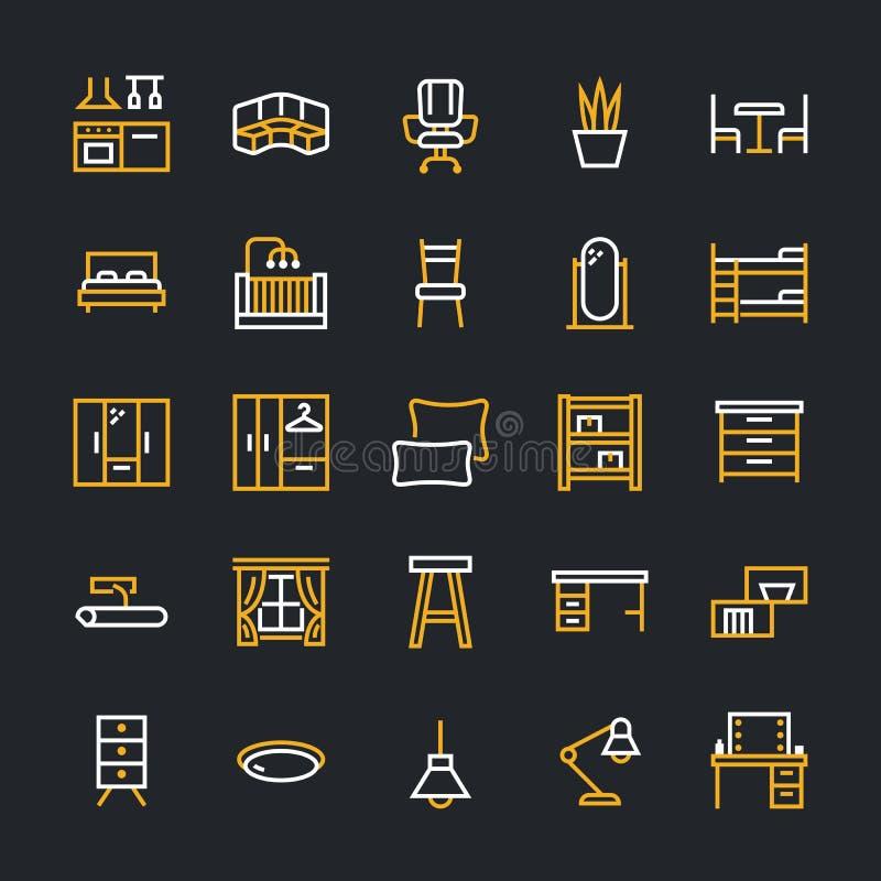 Furniture vector flat line icons. Living room, bedroom, baby crib, kitchen corner sofa, nursery dining table, pillows stock illustration