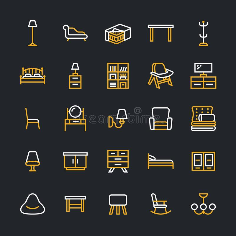 Furniture vector flat line icons. Living room tv stand, bedroom, home lighting, rocking chair, sofa, bedding, dining vector illustration