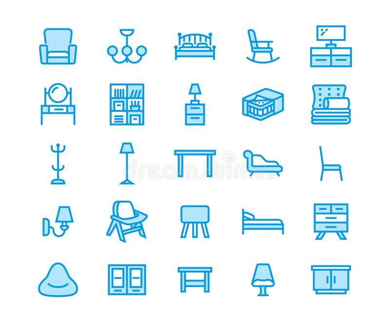 Furniture vector flat line icons. Living room tv stand, bedroom home lighting, rocking chair, sofa, bedding, dining vector illustration