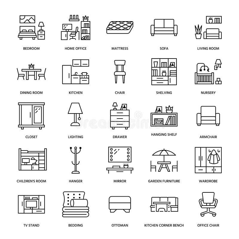 Furniture vector flat line icons. Living room tv stand, bedroom, home office, kitchen corner bench, sofa, nursery stock illustration