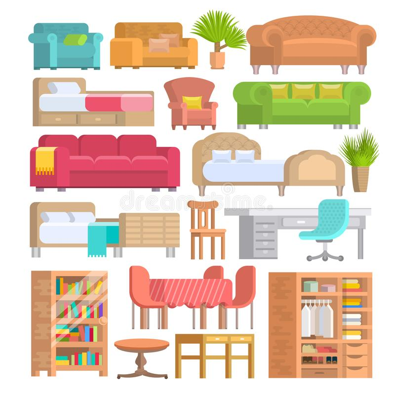 Furniture vector furnishings design of bedroom with bedding on bed in furnished interior of apartment and furnishing. Room with sofa armchair or chair set royalty free illustration