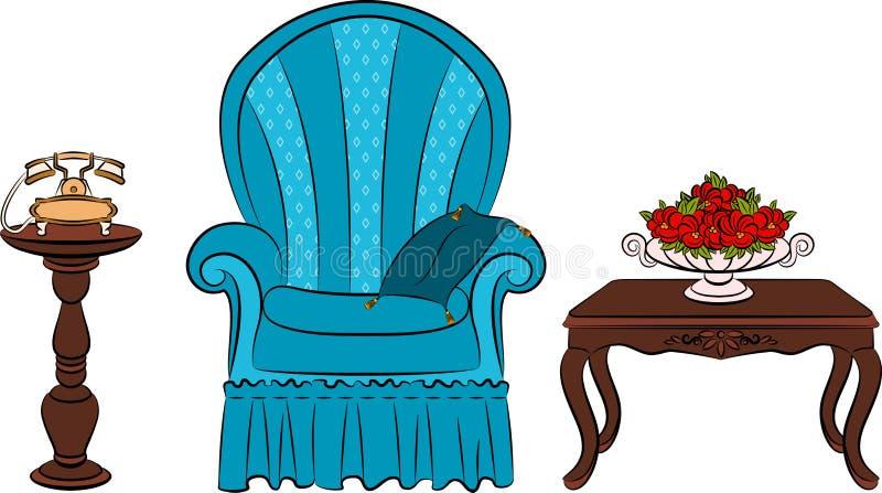 furniture for vintage interior vector illustration