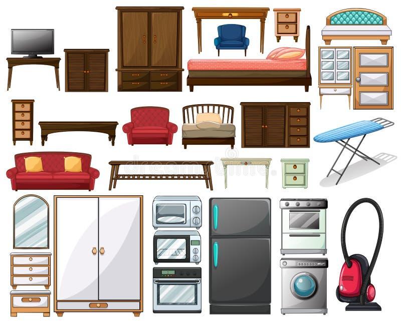 Furnitures και ηλεκτρονικοί εξοπλισμοί απεικόνιση αποθεμάτων