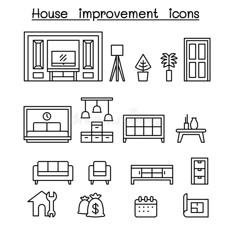 Furnitures, Huis verfraait puntenpictogram in dunne lijnstijl die wordt geplaatst stock illustratie