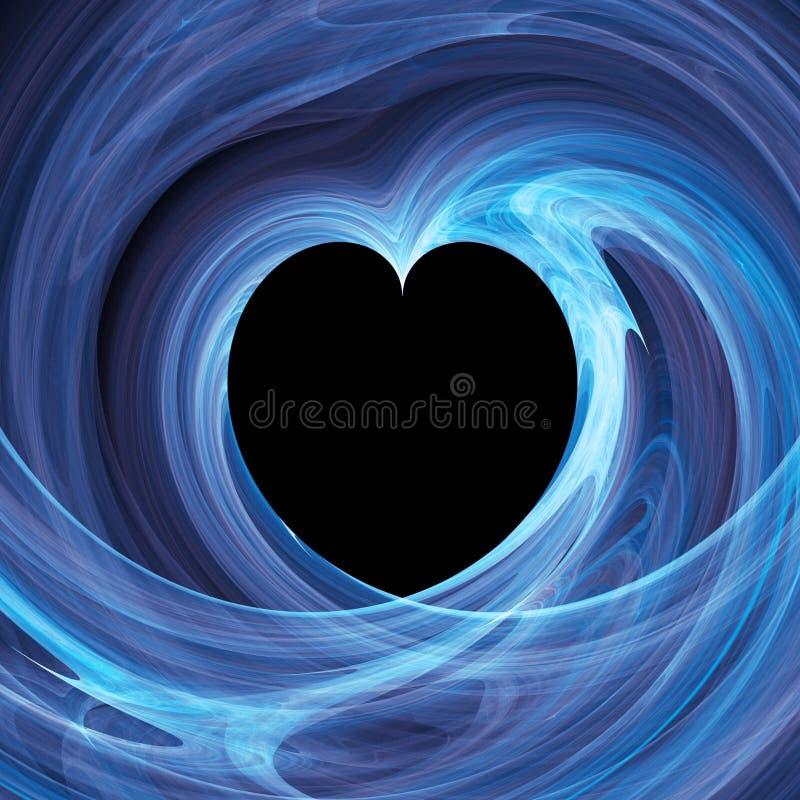 Furo azul do coração no twirl ilustração stock