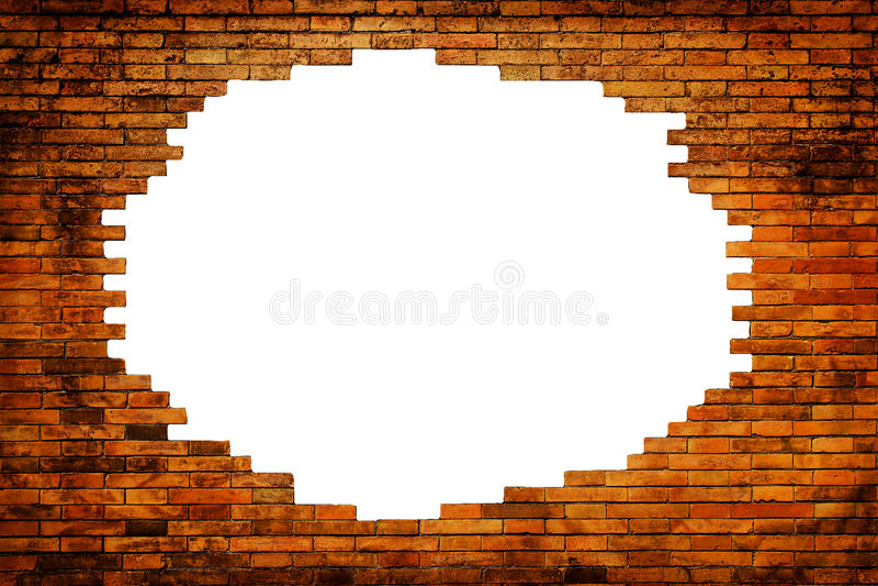 Furo branco na parede velha fotografia de stock