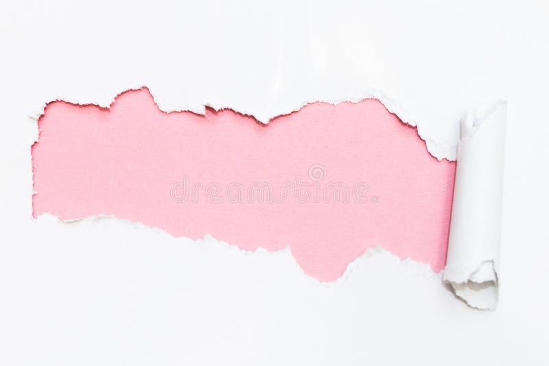 Furo cor-de-rosa no Livro Branco Espa?o vazio para o texto fotos de stock royalty free