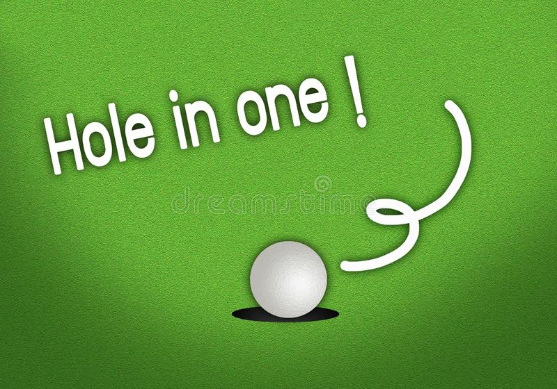 Furo deixando cair põr do Golfball em um tiro ilustração do vetor