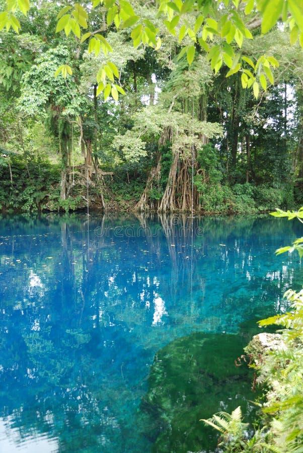 Furo do azul de Matavulu fotografia de stock royalty free