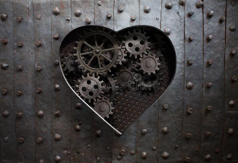 Furo do coração no metal velho com engrenagens e rodas denteadas ilustração stock