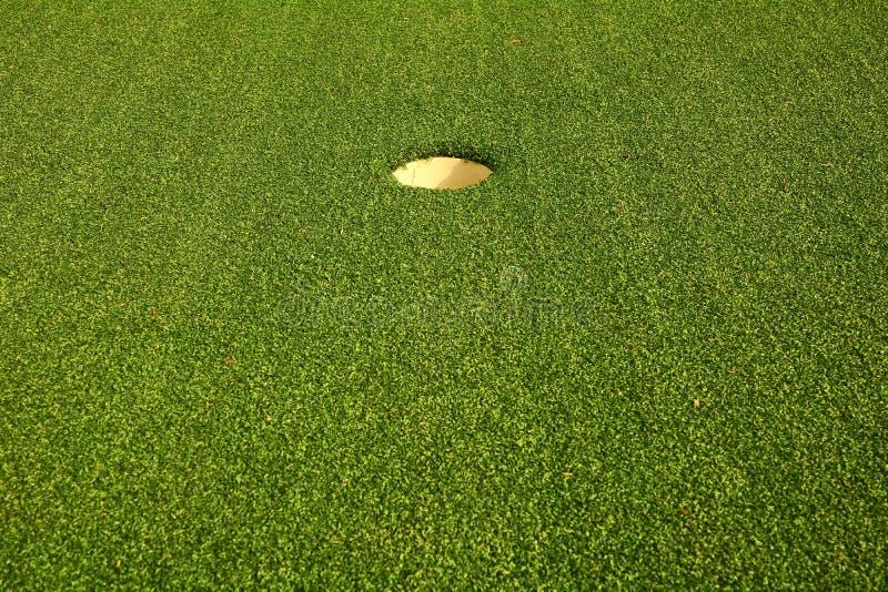 Furo do golfe na grama verde fotografia de stock