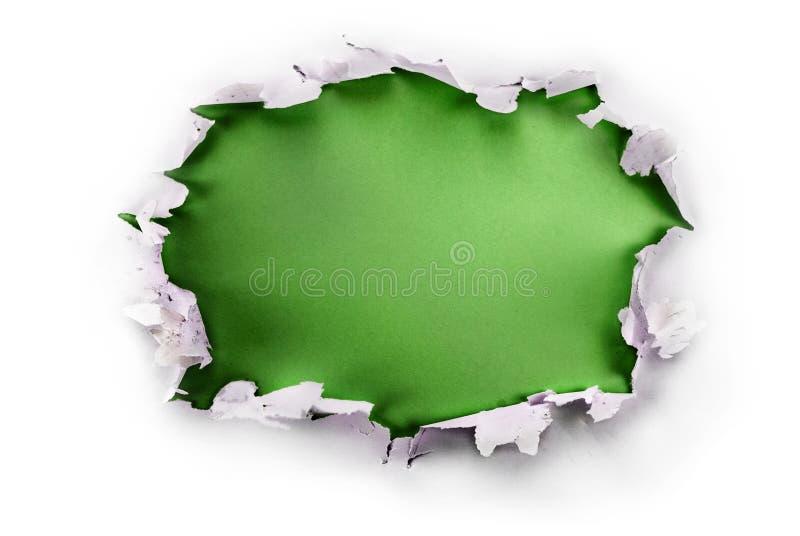 Furo do papel verde. imagem de stock royalty free