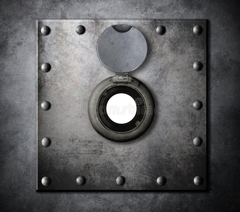 Furo do Peephole ou da espreitadela em porta blindada do metal fotografia de stock