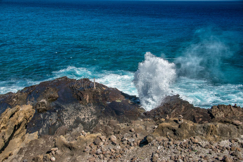 Furo do sopro em Havaí oahu fotografia de stock
