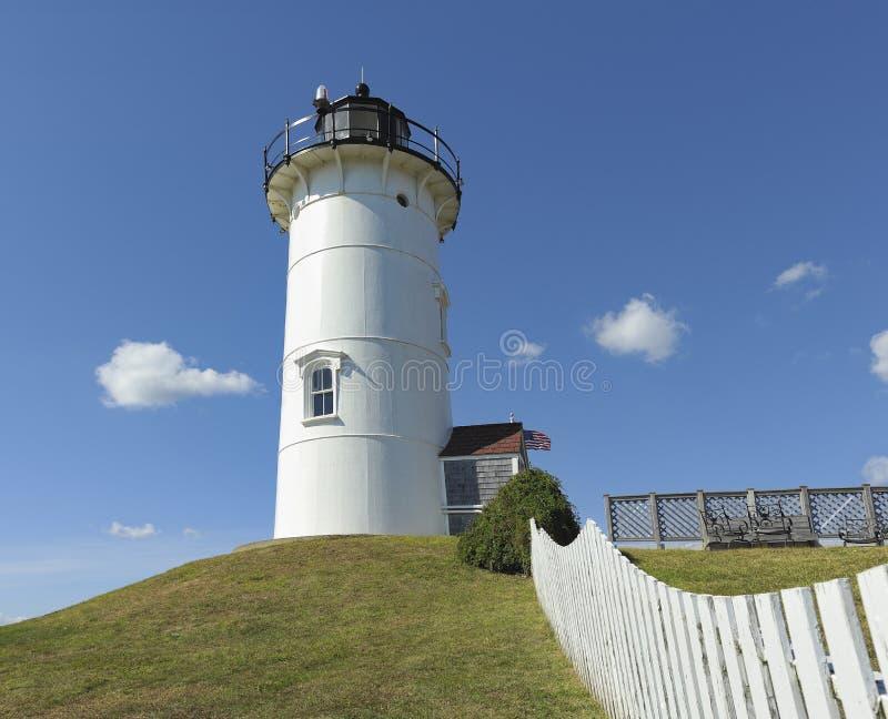 Furo Falmouth Cape Cod miliampère das madeiras do farol da luz do ponto de Nobska imagens de stock royalty free