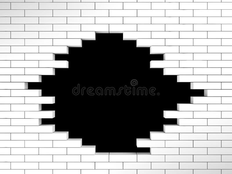 Furo na parede de tijolo branca ilustração royalty free