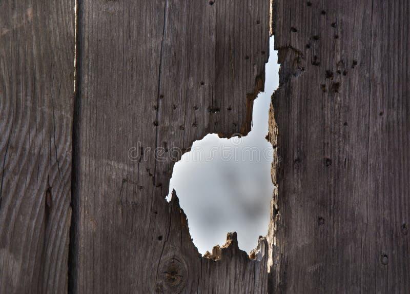 Furo na porta/cerca de madeira velhas fotografia de stock