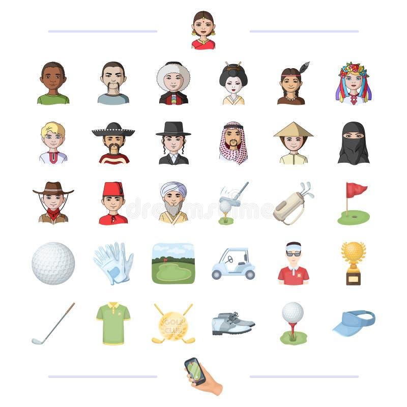 Furo, nacionalidade, religião e o outro ícone da Web no estilo dos desenhos animados ilustração do vetor
