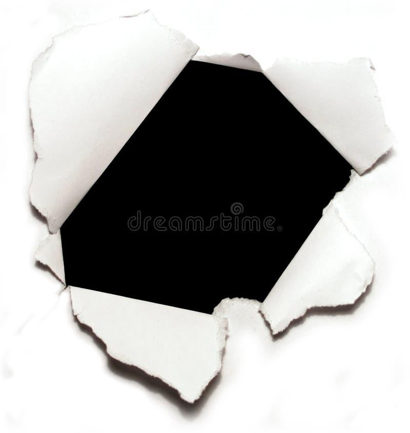 Furo no papel imagem de stock