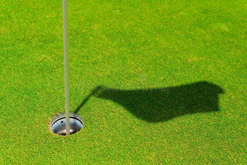 furo no verde de colocação com vara da bandeira e sombra da bandeira ponto do furo ou do alvo para o conceito do sucesso copie o  imagem de stock