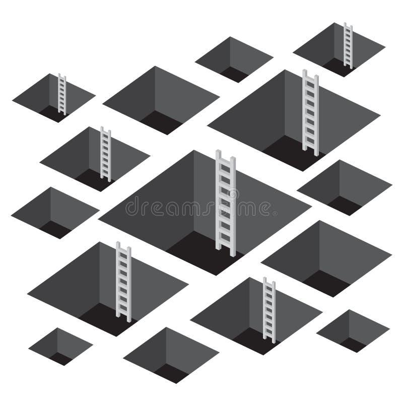 Furo quadrado com escada ilustração do vetor