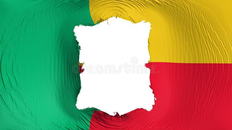 Furo quadrado na bandeira de Benin ilustração royalty free