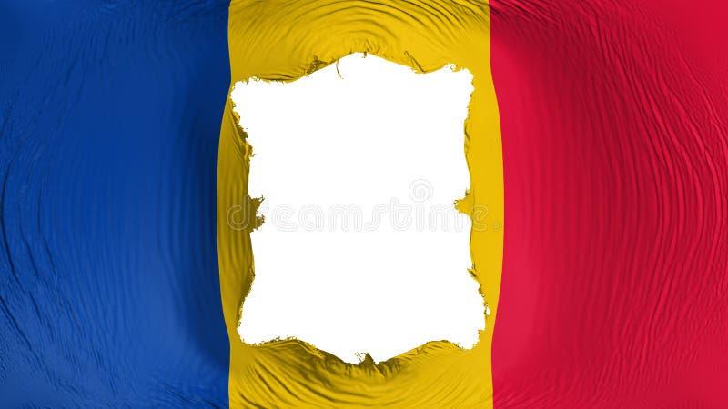 Furo quadrado na bandeira de Chade ilustração royalty free