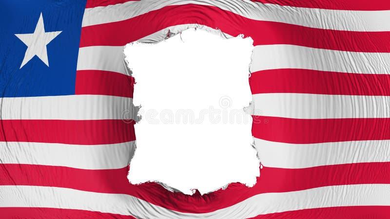 Furo quadrado na bandeira de Libéria ilustração do vetor
