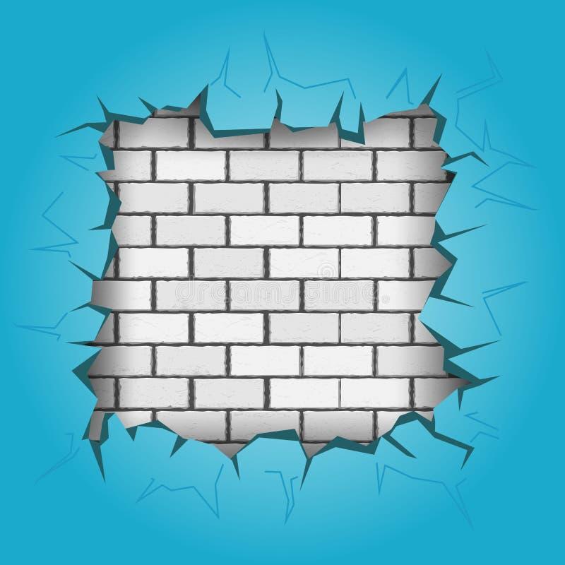 Furo quadrado na parede azul ilustração royalty free