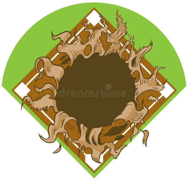 Furo que rasga-se fora do basebol Diamond Vetora Cartoon Clip Art ilustração royalty free