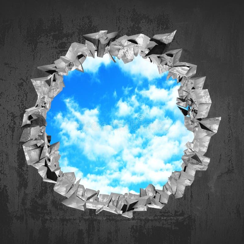 Furo quebrado de ?racked no muro de cimento ao céu nebuloso imagens de stock